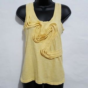 Anthro Little Yellow Button Small Tank Ruffles